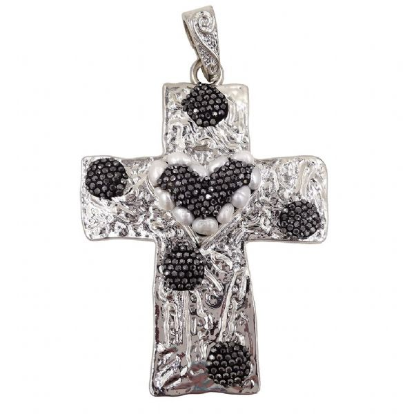 Rhodium Plated Cross with Pearls 62 x 76mm